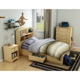Popular Twin Mates Bed (39'') with Drawer, Natural Maple