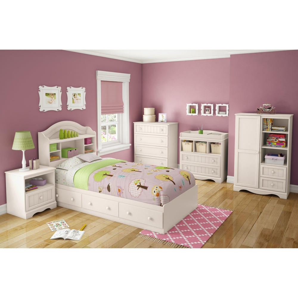 Savannah Twin Mates Bed (39'') with 3 Drawers, Pure White