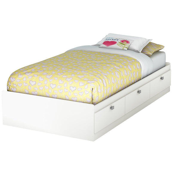 Spark Twin Mates Bed (39'') with 3 Drawers, Pure White