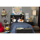 Vito Twin Bookcase Headboard (39'') with Decals, Space Rocket Themed, Pu