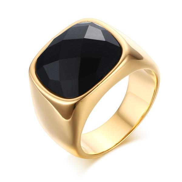 5192b49f1b429 Gold-Color Stainless Steel Men Black Onyx Ring