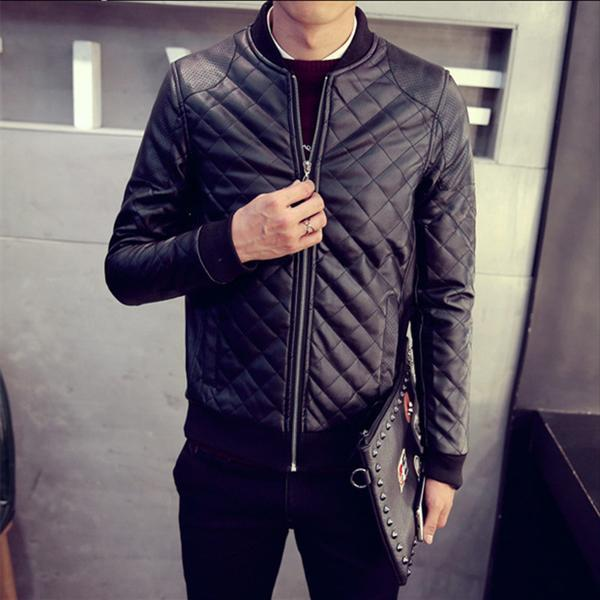 b00cab75 Stiched Style PU Leather Men Slim Fit Bomber Jacket – LuxuryStride