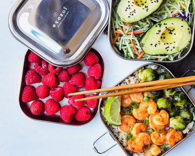 Honey Shrimp Bowl with Brussel Sprouts, Coleslaw Salad with Avocado, & Raspberries