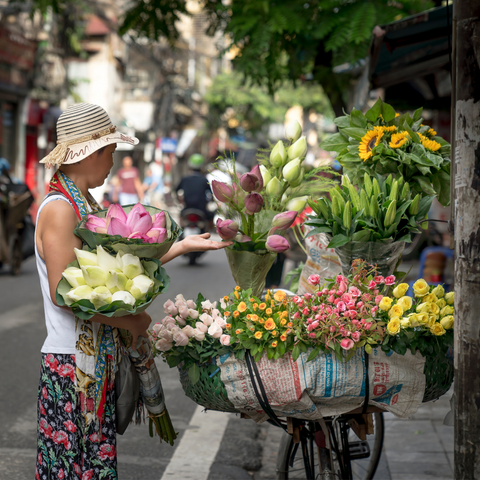 woman shopping for flowers