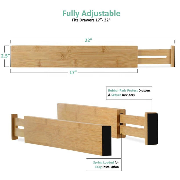 photo of the granular detail of bamboo drawer organizers showing a length of 17-22 inches and a height of 2.5 inches with rubber pads on the ends
