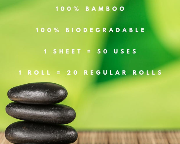 photo showing the main qualities of bamboo kitchen towels including the fact that they are 100% bamboo, 100% biodegradable, 1 sheet can be used 50 times, 1 roll equals 20 regular rolls