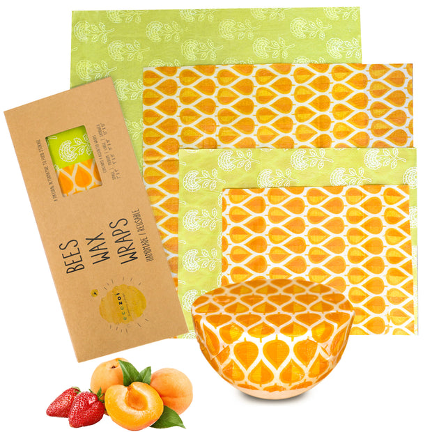 Ecozoi Reusable BeesWax Food Wraps, Assorted 4 Pack for Sandwiches, and Fruit & Veggie Bowls
