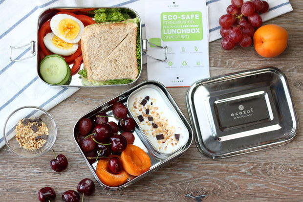 Ecozoi Stainless Steel Bento Lunch Box, 3-in-1 Rectangle with Pod, Leak Proof