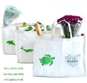 set of 3 organic cotton bags from Ecozoi showing the ability to carry items up to 80 lbs in weight