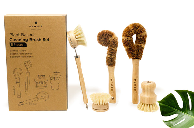 Ecozoi Plant Based Cleaning Brush Set, 5 Piece for Vegetable, and Kitchen Dish Cleaning