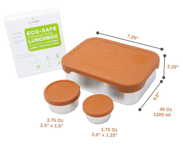 Ecozoi LEAK PROOF Stainless Steel 1-Tier Eco Lunch Box Metal Bento Box | 2 BONUS PODS and Silicone Lid