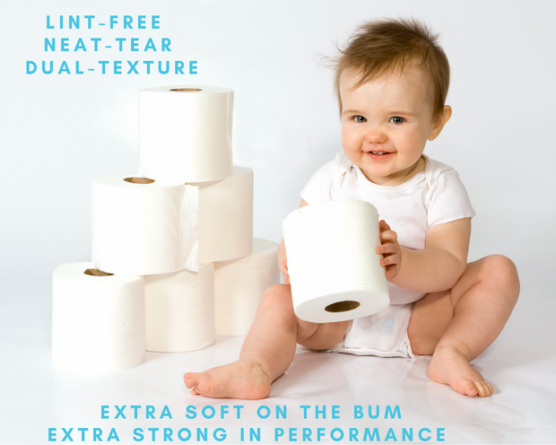 photo of a baby sitting next to 6 rolls of Ecozoi bamboo toilet paper rolls, the baby is also holding a roll of toilet paper in its hands