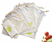 Ecozoi Reusable Cotton Produce Bags, 10 Piece Set for Shopping & Refrigerator Storage