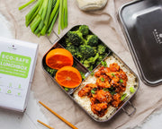 Ecozoi Extra Long 3 Compartment Leak Proof Stainless Steel Bento Lunch Box