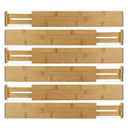 Bamboo Drawer Organizer Dividers, Expandable, Set of 6