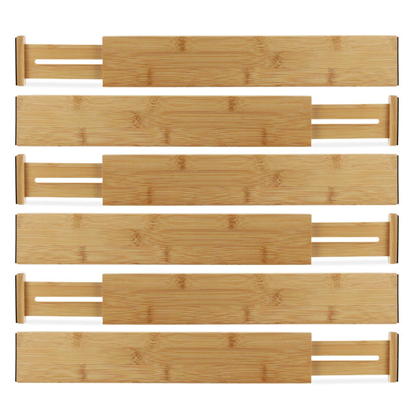 Ecozoi Bamboo Expandable Drawer Organizer Dividers, Set of 6