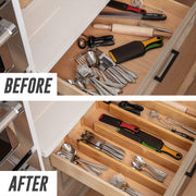 before and after photos of a kitchen drawer after implementing 3 bamboo drawer organizers