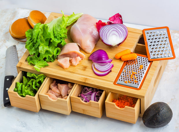 Bamboo Cutting Board with 4 Organizing Bamboo Drawers, Ergonomic Design