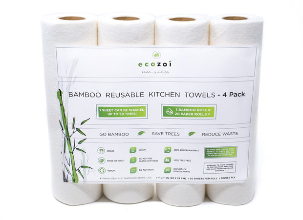 photo showing a pack of 4 rolls of bamboo reusable kitchen towels
