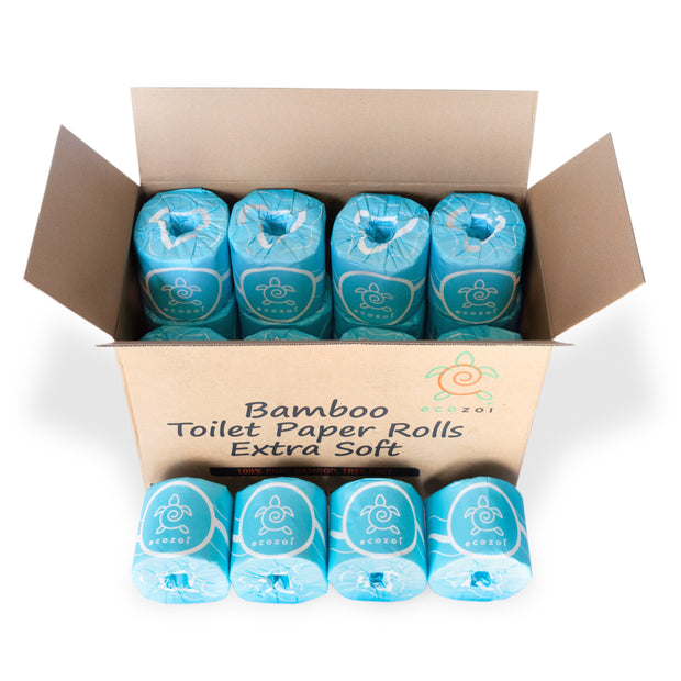 photo showing a box of 12 Ecozoi bamboo toilet paper rolls