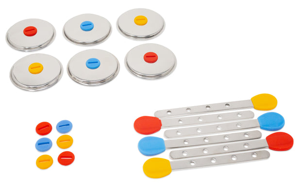 6 Reusable Steel Sticks + 6 Lids + 12 Silicone Seals - for Round Popsicle Molds