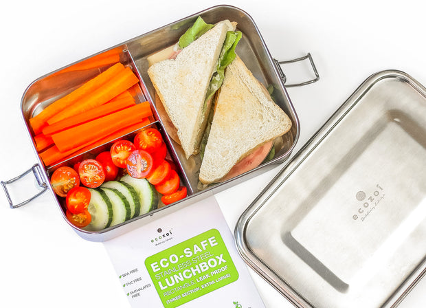 Stainless Steel Eco Lunch Box, Leak Proof, 3 Compartment Large, 50 Oz or 1500 ml