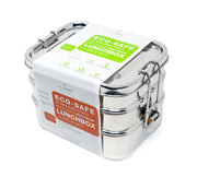 Stainless Steel Eco Lunch Box, Leak Proof, 3 Tier with 1 Mini Sauce Container, Convertible to 1 Tier, 70 Oz or 2100 ml