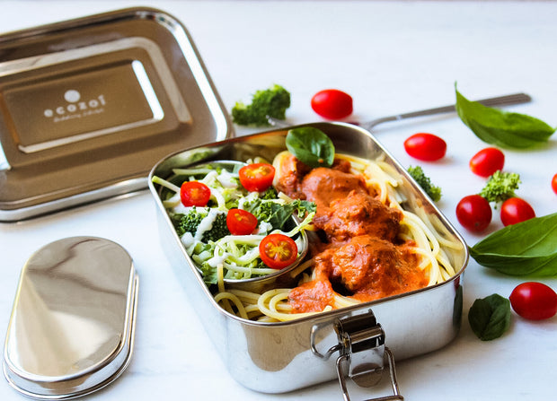 Stainless Steel Eco lunch Box, Leak Proof, 1 Tier with 1 Mini Sauce container, 35 Oz or 1000 ml