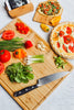 Ecozoi Natural Bamboo Cutting Board with Mini Pizza Serving Board and Cutting Board Holder