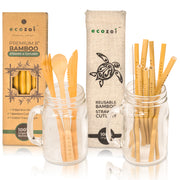 Ecozoi Organic Bamboo Straws and Bamboo Cutlery Utensils Set with BONUS Travel bag