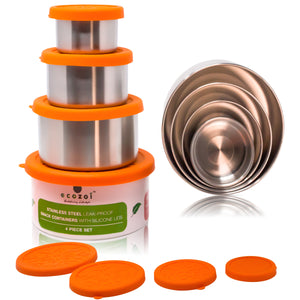 Stainless Steel Eco Snack Containers, Leak Proof, 4 Pc Set with Cotton Carrying Case, 74 Oz or 2100 ml