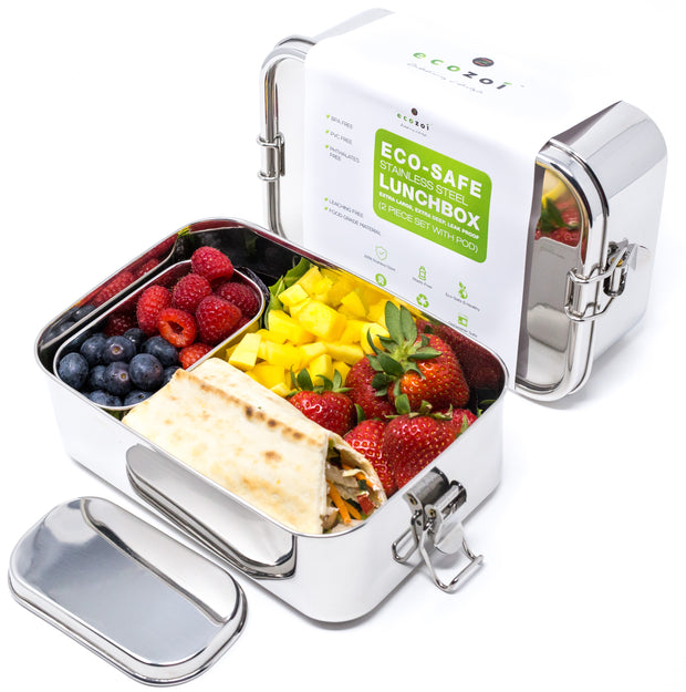 Stainless Steel Eco Lunch Box, Leak Proof, 1 Tier with 1 Mini Sauce Container, XL 70 Oz or 2100 ml