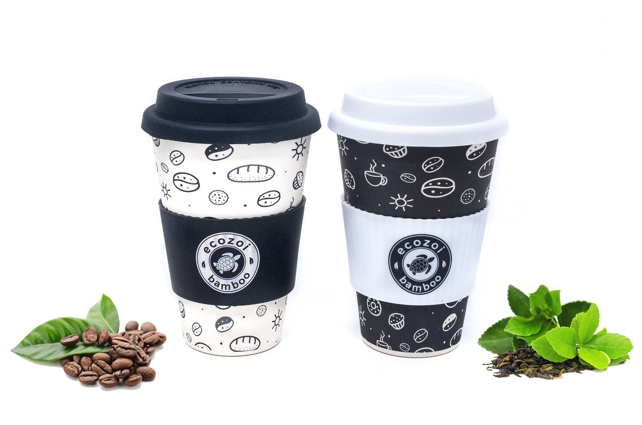 Ecozoi Reusable Bamboo Coffee Cups with Silicon Lid and sleeve, size 16 oz or 400 ml, Set of 2