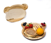 "Dinner Plates, 3 Compartments, 9"" Bear Shape Disposable Leaf Plates, 10 Pack"