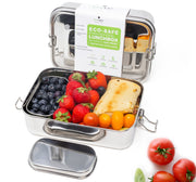 Stainless Steel Eco Lunch Box, Leak Proof, 1 Tier Large with 1 Mini Container, 50 Oz or 1500 ml