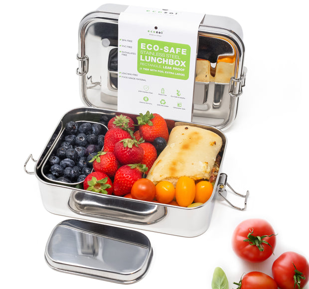 ecozoi Leak Proof Stainless Steel 1-Tier Extra Long Eco Lunch Box with Bonus POD