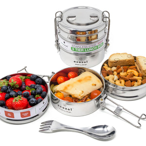 Stainless Steel Eco Lunch Box, 3 Tier Round with Spork, 40 Oz or 1200 ml