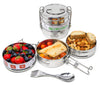 Ecozoi Stainless Steel 3 Tier Leak Proof Lunch Box Tiffin Box with Spork, Spoon & Fork