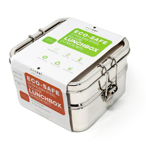 Stainless Steel Eco Lunch Box, 2 Tier Square with Additional Tray, 40 Oz or 1200 ml