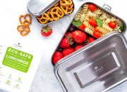 Stainless Steel Eco Lunch Box with Removable Divider, Leak Proof, 1 Tier with 1 Mini Sauce Container, XL 70 Oz or 2100 ml