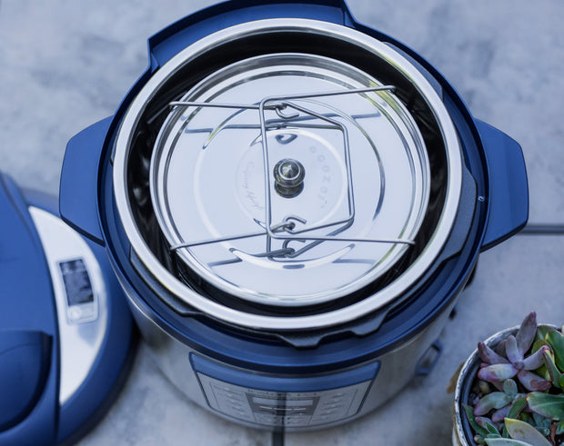 Overhead view of ecozoi stackable inserts inside an Instant Pot.