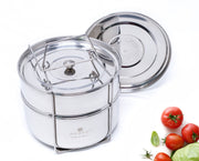 Ecozoi pressure cooker insert pot with solid and steamer lids.