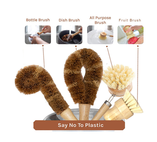 Dish Brush Set, 5 Piece Kitchen Scrub Brush Set, Plant Based Vegetable Brush Set