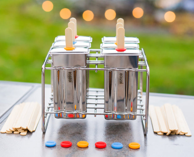 Stainless Steel Popsicle Molds and Rack, Flat Shape with Reusable Bamboo Sticks