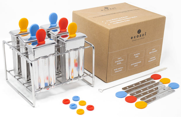 Stainless Steel Popsicle Molds and Rack, Flat Shape, Steel Sticks