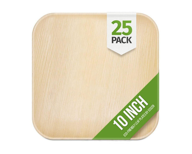 Ecozoi Disposable Palm Leaf Plates, Square, 25 Pack
