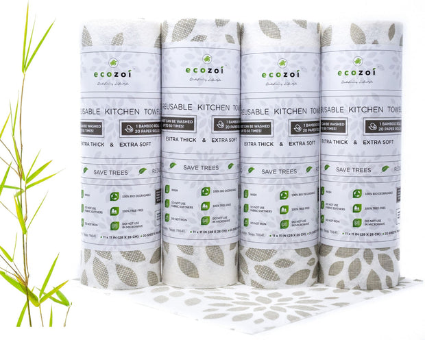 Ecozoi Reusable Bamboo kitchen Paper Rolls - Unpaper Towels, 4 Pack, Extra Thick
