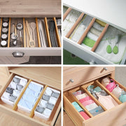Bamboo Drawer Organizer Dividers, Adjustable, Set of 6