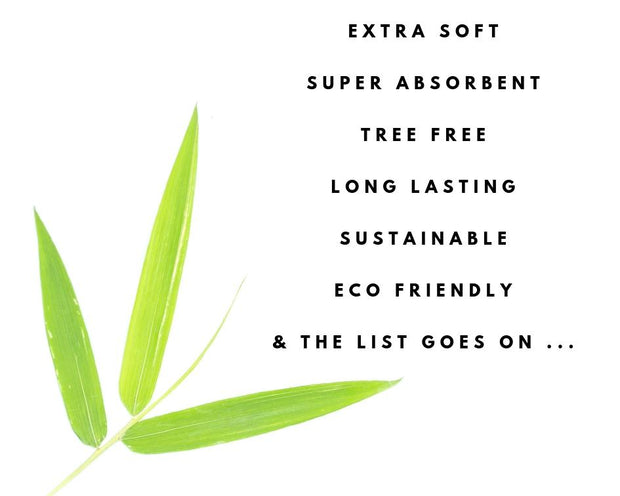 Photo showing a few features of bamboo kitchen towels including the fact that they are extra soft, super absorbent, tree-free, long lasting, eco friendly and sustainable
