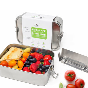 Stainless Steel Eco Lunch Box with Removable Divider, Leak Proof, 1 Tier, XL 70 Oz or 2100 ml